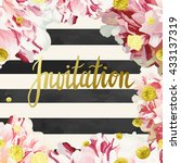 vector invitation template with ... | Shutterstock .eps vector #433137319