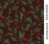 embroidered  branches of cherry ...   Shutterstock .eps vector #433144405