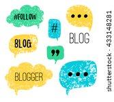 vector speech bubbles with... | Shutterstock .eps vector #433148281