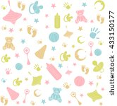 pattern with colorful baby icons | Shutterstock .eps vector #433150177