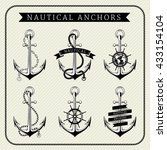 vintage nautical anchors set... | Shutterstock .eps vector #433154104