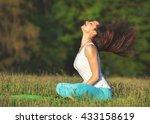 happy woman relaxing outdoor.... | Shutterstock . vector #433158619
