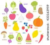 set of fruits  vegetables ...   Shutterstock .eps vector #433163959