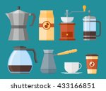 set of coffee elements in flat... | Shutterstock .eps vector #433166851