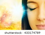 Stock photo macro close up of young woman meditating with eyes closed conceptual spiritual background with 433174789
