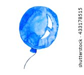 Blue Balloon Watercolor Hand...