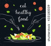 eat healthy food concept. fresh ... | Shutterstock .eps vector #433180039