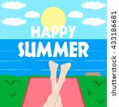bright template of summer... | Shutterstock .eps vector #433186681