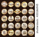 retro vintage golden badges and ... | Shutterstock .eps vector #433186945