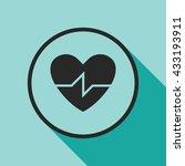 heart beat icon. cardiogram... | Shutterstock .eps vector #433193911