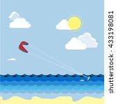 summer kitesurfing sport. man... | Shutterstock .eps vector #433198081