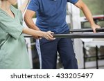 physiotherapist standing by...   Shutterstock . vector #433205497