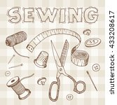 sewing set. free hand drawing ... | Shutterstock .eps vector #433208617