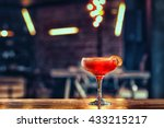 negroni coctail standing on the ... | Shutterstock . vector #433215217