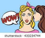 whispering in ear. two girls... | Shutterstock .eps vector #433234744