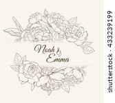 invitation card with rose and... | Shutterstock .eps vector #433239199