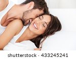 young happy couple lying... | Shutterstock . vector #433245241