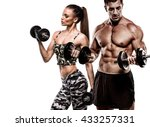 athletic couple poses for the... | Shutterstock . vector #433257331