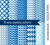 set seamless patterns with wave.... | Shutterstock .eps vector #433257595