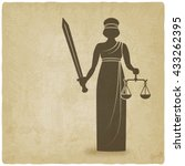 themis with sword and scales... | Shutterstock .eps vector #433262395