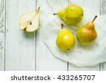 group of pears and half pear on ... | Shutterstock . vector #433265707