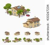 suburban house. 3d lowpoly... | Shutterstock .eps vector #433267234