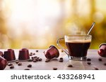 cup of coffee with capsules and ... | Shutterstock . vector #433268941