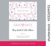 colorful wedding invitation... | Shutterstock .eps vector #433269931
