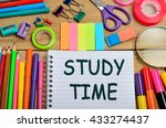 the words study time on... | Shutterstock . vector #433274437