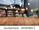 perspective table top wooden... | Shutterstock . vector #433298071