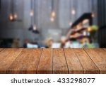 perspective table top wooden... | Shutterstock . vector #433298077
