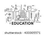 thin line flat design banners... | Shutterstock .eps vector #433305571