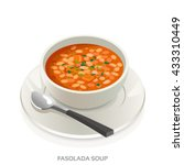 fasolada soup bowl  greek and... | Shutterstock .eps vector #433310449