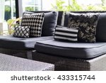 black  white cushion and pillow ... | Shutterstock . vector #433315744