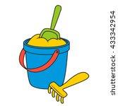 sand bucket and shovel. vector... | Shutterstock .eps vector #433342954