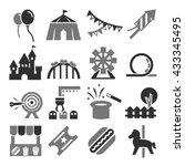amusement park icon set | Shutterstock .eps vector #433345495
