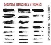 set of grunge brush stroke. ink ... | Shutterstock .eps vector #433345894