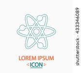 atom flat thin line icon on...