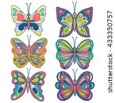 butterfly set. colorful... | Shutterstock .eps vector #433350757