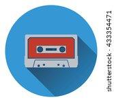 audio cassette  icon. flat...