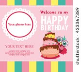 happy birthday card design.... | Shutterstock .eps vector #433367389