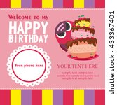 happy birthday card design.... | Shutterstock .eps vector #433367401