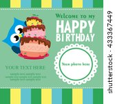 happy birthday card design.... | Shutterstock .eps vector #433367449