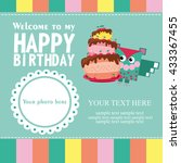 happy birthday card design.... | Shutterstock .eps vector #433367455
