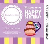 happy birthday card design.... | Shutterstock .eps vector #433367479