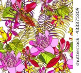 tropical pattern exotic plants... | Shutterstock .eps vector #433375309