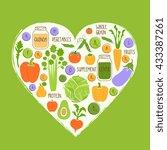 vegan diet. healthy food... | Shutterstock .eps vector #433387261