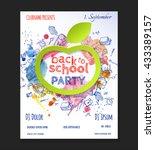 back to school party flyer... | Shutterstock .eps vector #433389157