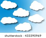 cloud vector icon set white... | Shutterstock .eps vector #433390969