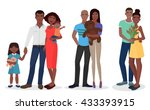 black people family couple set. ... | Shutterstock .eps vector #433393915